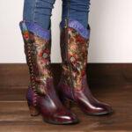 New              SOCOFY Retro Sun Flower Handmade Genuine Leather Stitching Mid Calf Western Boots
