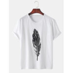 New              Mens Feather Printed Cotton Breathable Round Neck Casual Short Sleeve T-Shirts