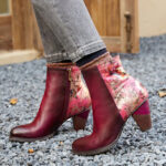 New              SOCOFY Retro Stitching Printed Flowers Pattern Zipper Warm Lined High Heel Ankle Boots