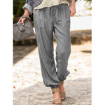 New              Women Solid Color Pocket Loose Elastic Waist Pants