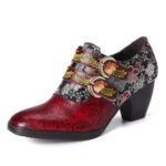New              SOCOFY Retro Flower Metal Embossed Buckle Strap Leather Low Heel Square Toe Pumps