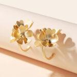 New              Vintage Metal Geometric Earrings Gold Stereoscopic Flower Ear Cuff