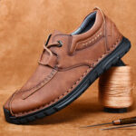 New              Men Retro Hand Stitching Cowhide Leather Non Slip Soft Sole Casual Shoes