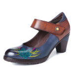 New              SOCOFY Retro Painting Style Flower Decorated Delicate Buckle Genuine Leather Pumps