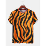 New              Mens Zebra Print Breathable & Thin Loose O-Neck T-Shirts