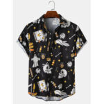 New              Mens Halloween Funny AllOver Skull Printing Relaxed Fit Short Sleeve Shirts