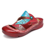New              SOCOFY Handmade Leather Beaded Floral Cutout Adjustable Strap Slip-on Mules Clogs Sandals