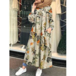 New              Floral Leaf Printed Button Down Front Kaftan Tunic Maxi Dress with Side Pockets