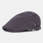 New              Men Cotton British Style Solid Color Summer Outdoor Visor Forward Hat Beret Hat