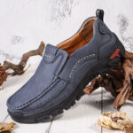 New              Men Retro Microfiber Leather Comfy Slip-on Outdoor Non Slip Casual Flat Shoes