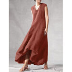 New              Solid Color V-neck Sleeveless Loose Casual Maxi Dresses