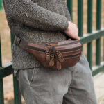 New              Men Genuine Leather Multi-pocket Large-capacity Multifunctional Crossbody Bag Chest Bag Sling Bag