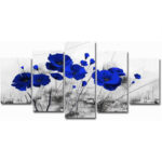 New              5pcs Modern Wall Canvas Painting Red Blue Purple Ink Poppy Flower Home Decoration