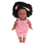 New              12Inch Soft Silicone Vinyl PVC Black Baby Fashion Doll Rotate 360° African Girl Perfect Reborn Doll Toy for Birthday Gift
