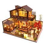 New              Wooden DIY Courtyard Doll House Miniature Kit Handmade Assemble Toy with LED Light Dust-proof Cover for Gift Collection
