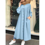 New              Solid Color Stand Collar Button Down Front Leisure Loose Maxi Dress with Side Pockets