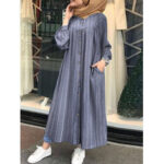 New              Women Casual Stripe Print Button Long Sleeve Side Pocket Shirt Maxi Dress