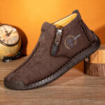 New              Men Corduroy Hand Stitching Leather Casual Ankle Boots