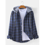 New              Mens Check Button Up Casual Long Sleeve Drawstring Hooded Jacket