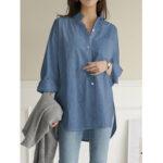 New              Women Solid Color Turn-down Collar Blouse Irregular Hem Chest Pocket Splited Denim Shirts