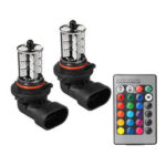 New              RGBW Multi-Color Car Headlight Fog Light Bulb H7 H11 9005 9006 with 24-Key Remote Controller 12V
