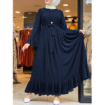 New              Casual Solid Color Flare Sleeve Lace-Up Chiffon Loose MuslimMaxi Dress