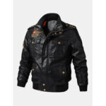 New              Mens PU Leather Badge Zip Front Biker Jackets With Flap Pockets