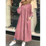 New              Stripe Print Cotton Kaftan Tunic Maxi Dress with Side Pockets