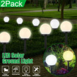 New              2PCS Solar Powered LED Ground Light Ball Lawn Lamp Waterproof Outdoor Garden Yard Path Decor