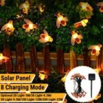 New              5M/6.5M/9.5M/12M/22M LED Solar Powered Bee String Light Outdoor Party Fairy Lamp Patio Garden Yard Decor