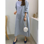 New              Cotton Split Hem Front Pocket Casual Loose Maxi Dress