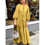 New              Women Casual Cotton Puff Sleeve Tassel Design Loose Maxi Dress