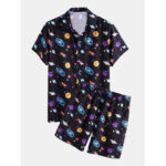 New              Mens Cartoon Galaxy Print Lapel Collar Short Sleeve Drawstring Casual Shirts Shorts