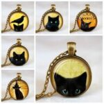 New              Vintage Metal Glass Cute Cat Necklace Geometric Round Animal Printed Gem Pendant Necklace