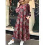 New              Women Retro Floral Printed O-neck Button Down Kaftan Pocket Maxi Shirt Dress