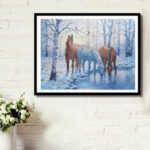 New              DIY 5D Diamond Painting Winter Horse Art Craft Embroidery Stitch Kit Handmade Wall Decorations Gifts for Kids Adult