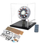 New              High Version 1:1 Alloy Arc Reactor DIY Model MK1 LED Light Mark Chest Tony Heart Lamp Light With Display Stand Cover Remote Control