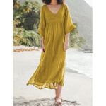 New              Women Solid Color V-Neck Slit Hem Elegant Maxi Dresses