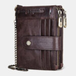 New              Men Genuine Leather RFID Double ZIpper Anti-theft Multi-card Slot Card Holder Wallet