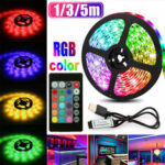 New              1M 3M 5M USB RGB 5050 LED Strip Light Non-waterproof/Waterproof TV Background PC Lamp with 24Keys Remote Control