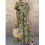 New              Vintage Floral Print Short Sleeve Loose Casual Maxi Dress