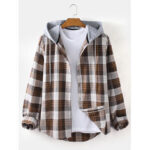 New              Mens Plaid Button Up Relaxed Fit Long Sleeve Drawstring Hooded Jacket