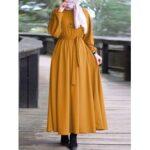 New              Women Elegant Puff Sleeve Elastic Cuff Lace-Up Kaftan Tunic MuslimMaxi Dress