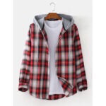 New              Mens Plaid Curved Hem Long Sleeve Relaxed Fit Drawstring Hooded Shirts