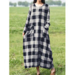 New              Retro Plaid Print Long Sleeve Loose Maxi Dress with Front Pockets