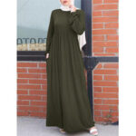 New              Women Retro Solid Color Elastic Cuff Knitted MuslimMaxi Dress with Side Pockets