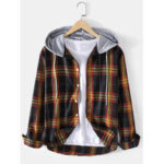 New              Mens Tartan Button Up Long Sleeve Relaxed Fit Drawstring Hooded Jacket