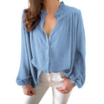 New              Women OL Style Solid Color Split Pleated Lantern Sleeve Casual Shirts