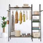 New              Multi-layers Floor Hanger Clothes Rack Shoes Storage Shelf Hats Wardrobe for Home Furniture