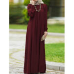 New              Women Vintage O-neck Button Long Puff Sleeve Kaftan Solid Color Maxi Dress